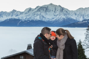 séance photo engagement face au Mont Blanc