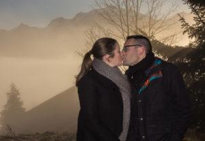 séance engagement à Cordon face au Mont Blanc