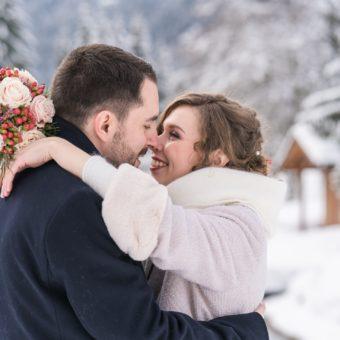Un mariage à Saint Gervais en  hiver sous la neige