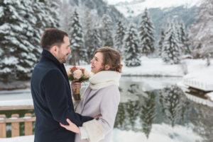 photo mariage hiver en montagne