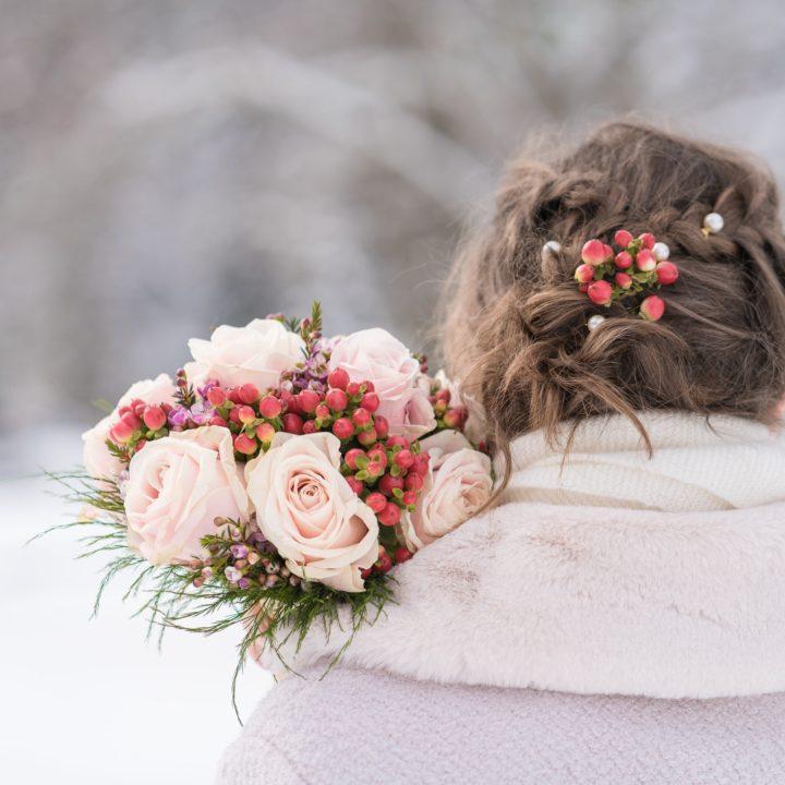 Mariage en hiver à la montagne