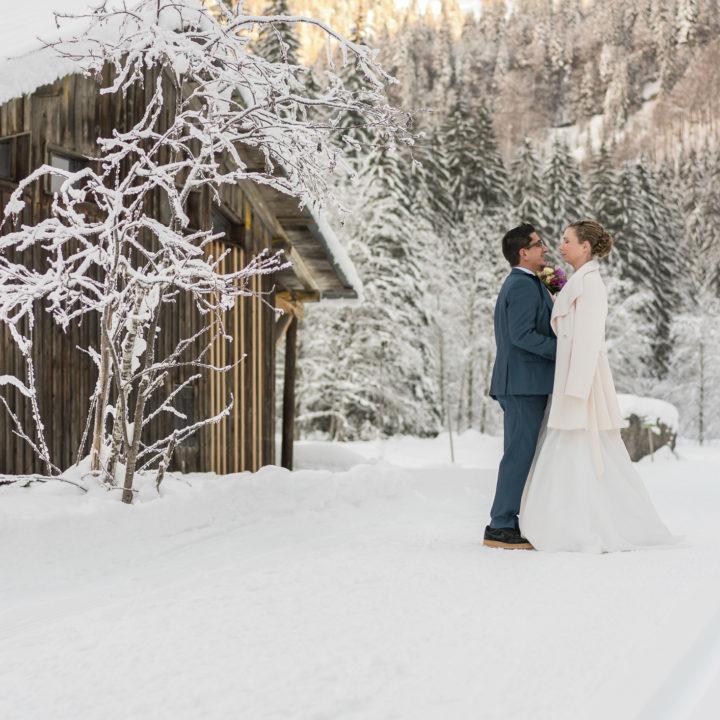 Mariage à Montriond en hiver au domaine du Baron